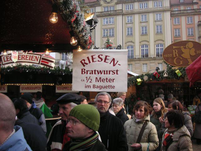 Riesenbratwurst sign, Dresdner Striezelmarkt