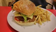 a chickpea burger with chips
